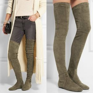 62db2885727 Vegan Suede Olive Green Thigh High Boots